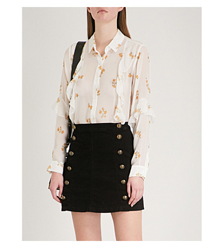 THE KOOPLES Popcorn flower-print silk shirt (Yel01