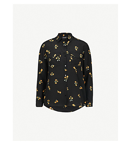 THE KOOPLES Popcorn flower-print silk shirt (Bla01