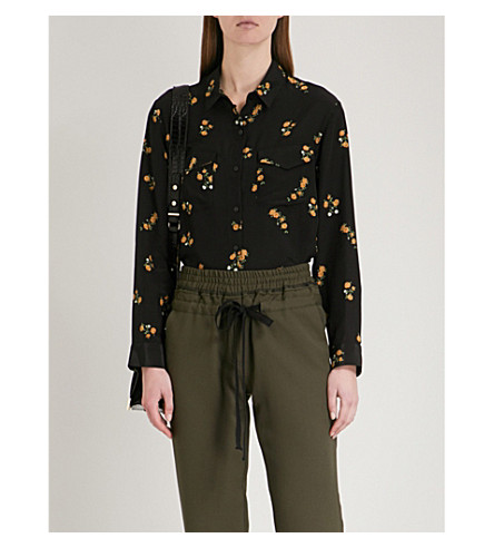 THE KOOPLES Popcorn flower-print silk shirt (Bla01