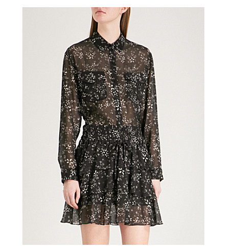 THE KOOPLES Moonflower-print chiffon shirt (Bla01