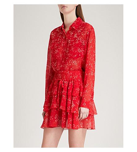 THE KOOPLES Moonflower-print chiffon shirt (Red01