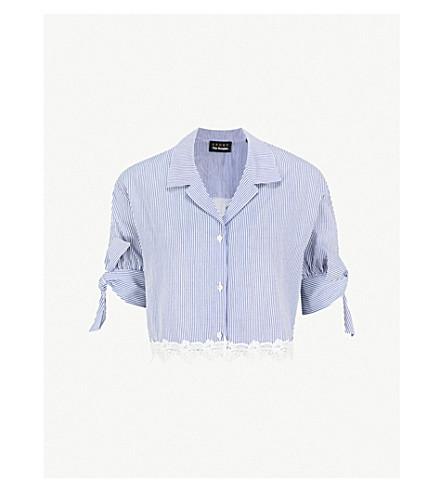 THE KOOPLES Lace-trim cropped cotton shirt (Blu89