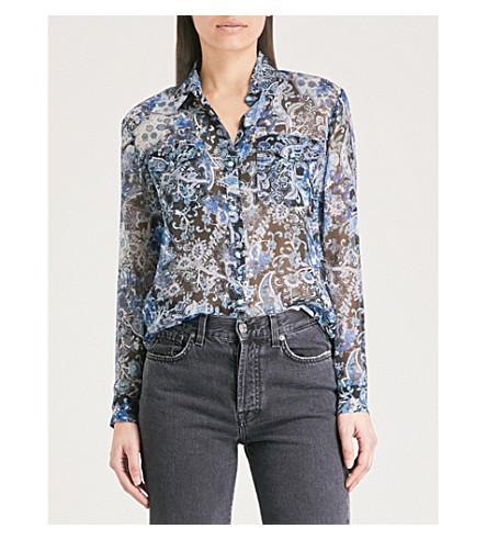 THE KOOPLES THE silk Paisley print shirt muslin Blu01 KOOPLES 6dw5qEX6