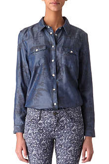 THE KOOPLES Floral-print denim shirt