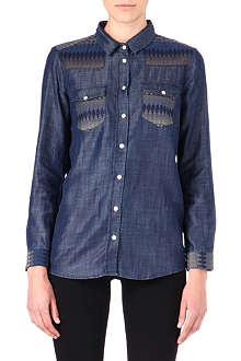 THE KOOPLES Aztec-detail denim shirt