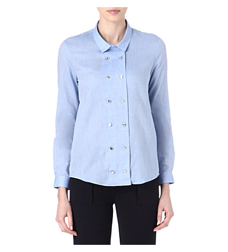 THE KOOPLES Double-breasted shirt (Blue+sky