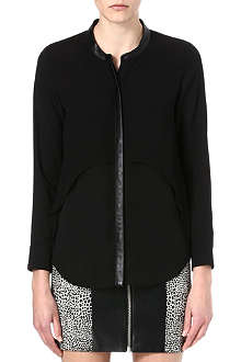 THE KOOPLES Leather-detail flowing shirt
