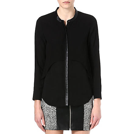 THE KOOPLES Leather-detail flowing shirt (Black