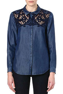 THE KOOPLES Baroque embroidery denim shirt