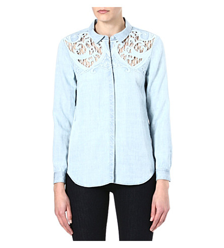 THE KOOPLES Baroque embroidery denim shirt (Bleach