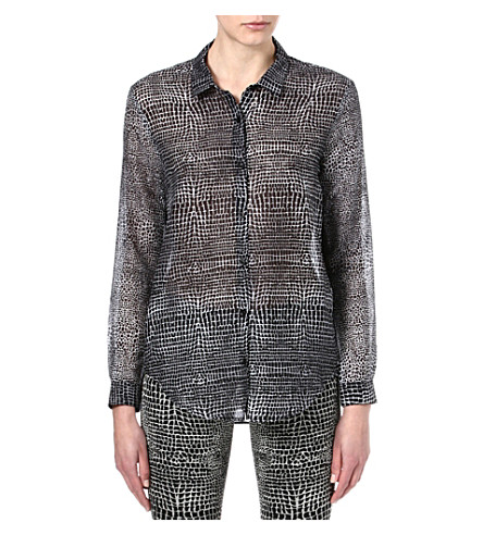 THE KOOPLES Crocodile-print boyfriend shirt (Black / white