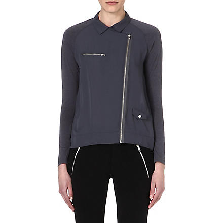 THE KOOPLES SPORT Biker-style crepe and jersey shirt (Anthracite