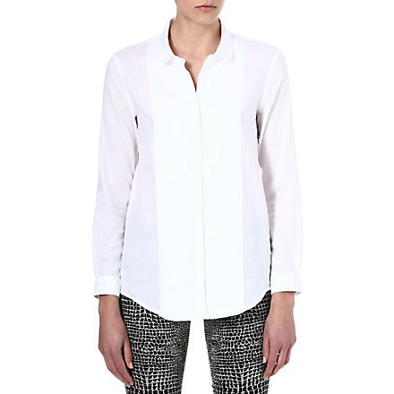 THE KOOPLES Panelled embroidered-initials shirt (White