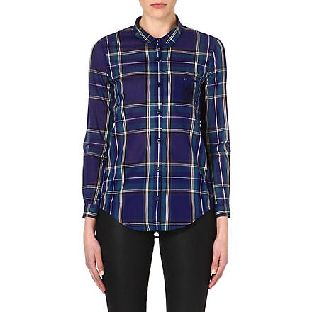 THE KOOPLES SPORT Embroidered checked shirt (Blue/green