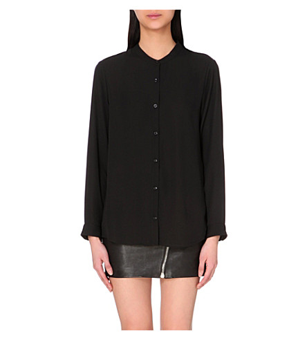THE KOOPLES Crepe collarless shirt (Black