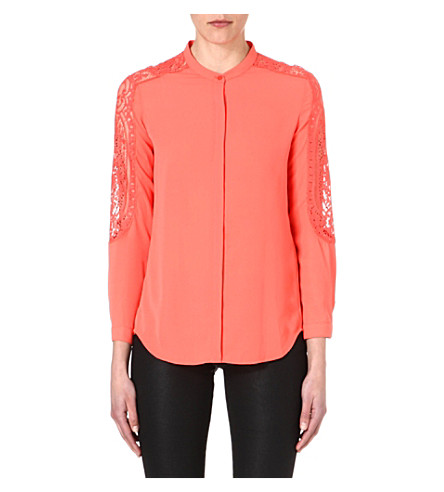 THE KOOPLES Lace-insert crepe blouse (Corail