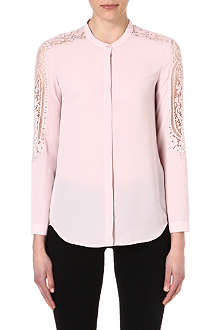 THE KOOPLES Lace-detailed crepe blouse