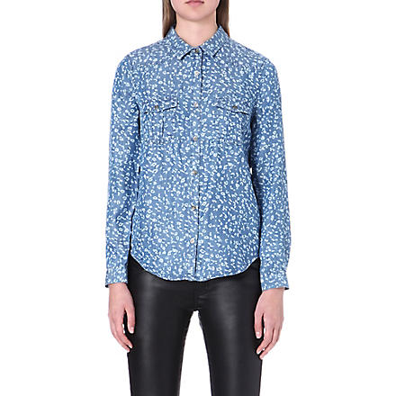 THE KOOPLES Micro acid leopard print shirt (Blue