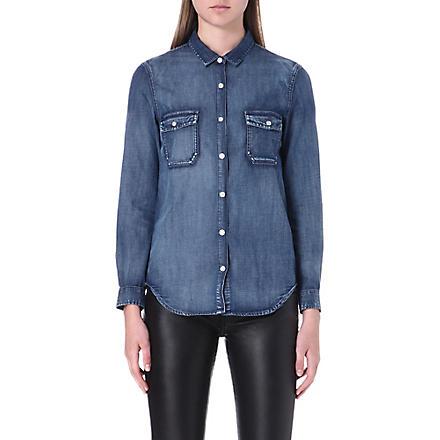 THE KOOPLES Cotton-patine denim shirt (Blue