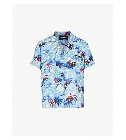 THE KOOPLES Hawaii print china crepe shirt (Blu01