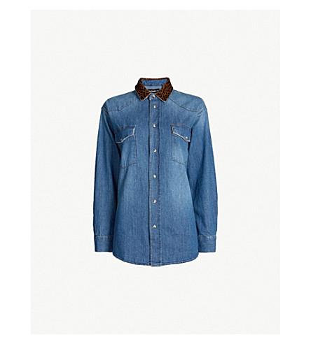 THE KOOPLES 豹纹牛仔和小牛毛衬衫 (Blue6