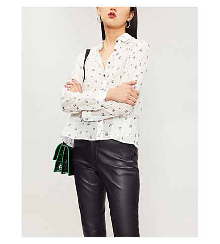 THE KOOPLES Floral-print cotton and silk-blend shirt (Ecr01