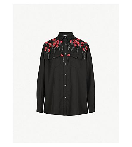 THE KOOPLES 花卉刺绣绉衬衫 (Bla01