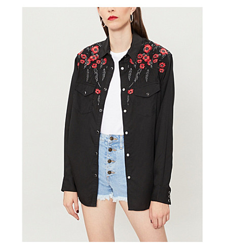 THE KOOPLES Floral-embroidered crepe shirt (Bla01