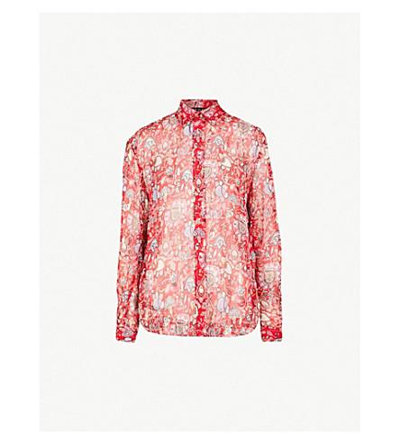 THE KOOPLES 佩斯利真丝混纺衬衫 (Red01