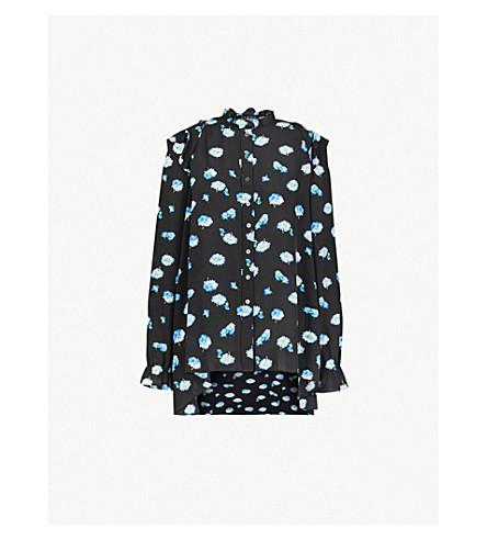 THE KOOPLES 花印皱真丝衬衫 (Bla01