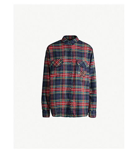 THE KOOPLES 格子花香 de 赖氨酸棉质法兰绒衬衫 (Blu36