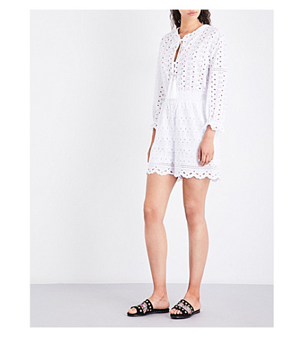 THE KOOPLES Broderie Anglaise cotton playsuit (Whi01