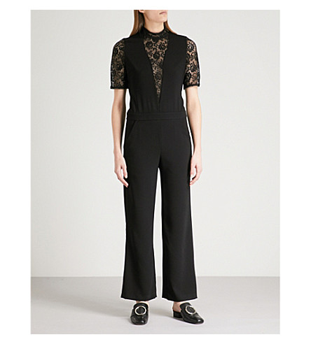 THE KOOPLES Floral-lace and crepe jumpsuit (Bla01