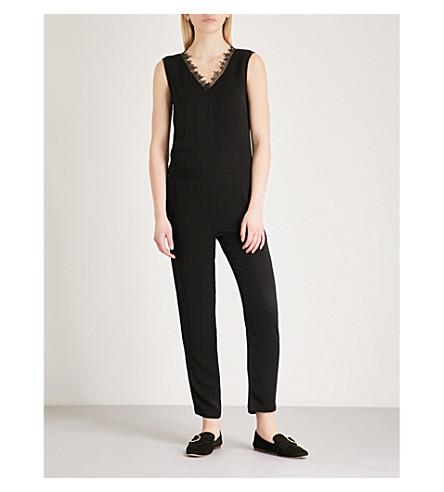 THE KOOPLES Lace-trimmed crepe jumpsuit (Bla01
