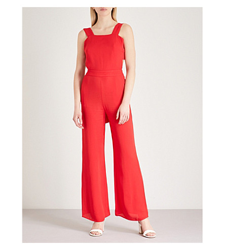 THE KOOPLES Open-back self-tie crepe jumpsuit (Red01