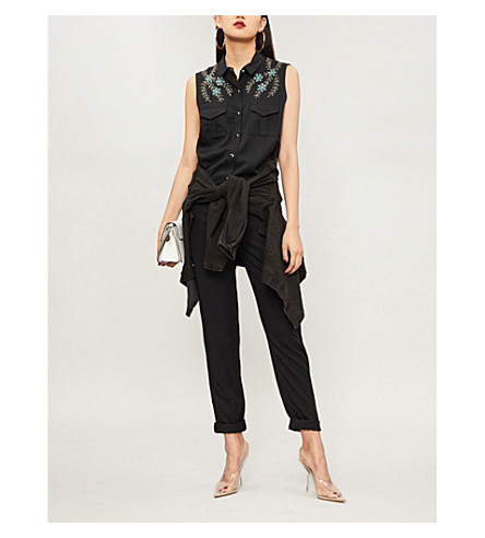 THE KOOPLES Floral-embellishment crepe jumpsuit (Bla01