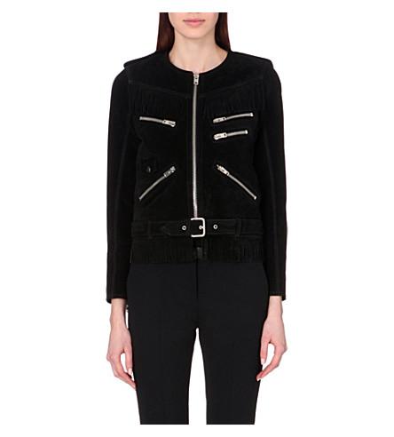 THE KOOPLES Fringed suede jacket (Black