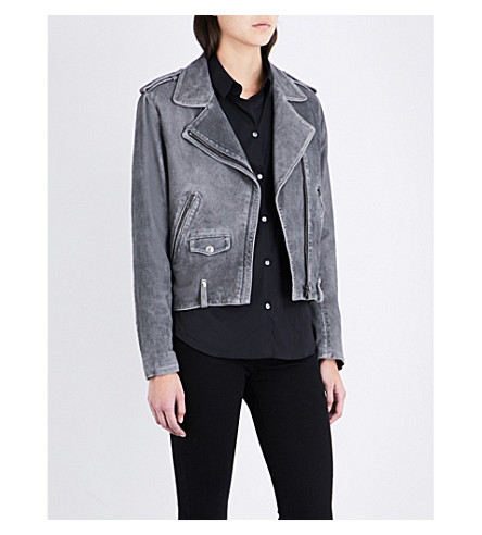 THE KOOPLES Epaulette-detail suede biker jacket (Gry01