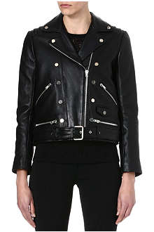 THE KOOPLES Double-breasted leather biker jacket