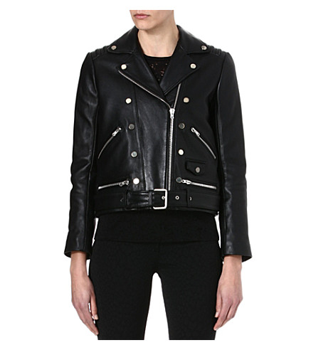 THE KOOPLES Double-breasted leather biker jacket (Black