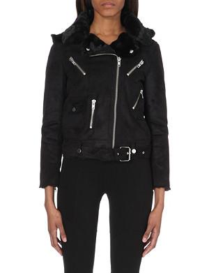 THE KOOPLES SPORT Faux-suede biker jacket