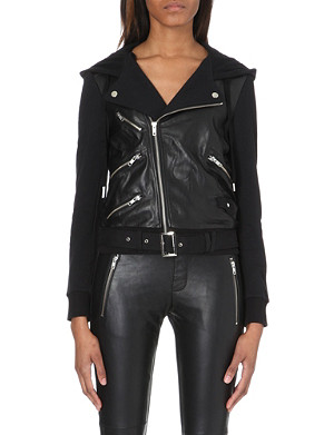 THE KOOPLES SPORT Leather and jersey biker jacket