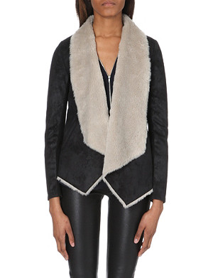 THE KOOPLES Shearling-lined open faux-leather jacket