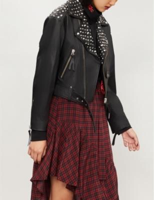 Stud-Embellishment Leather Jacket in Bla01