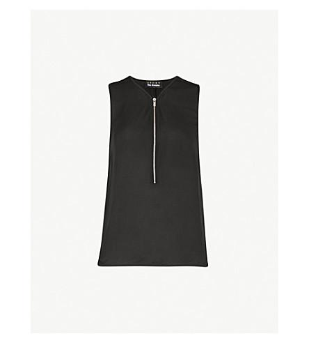 THE KOOPLES Zip-detail silk and jersey top (Bla01
