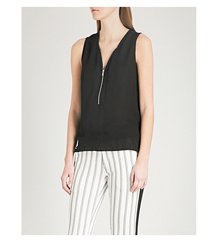 THE KOOPLES Zip-detail silk and jersey top (Bla01