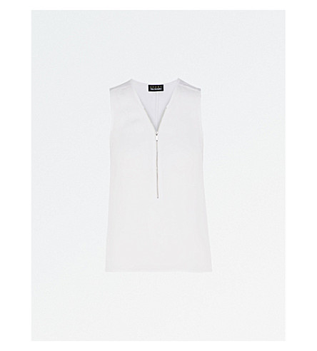 THE KOOPLES Zip-detail silk and jersey top (Whi01