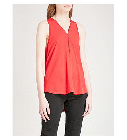 THE KOOPLES Zip-detail silk and jersey top (Red78