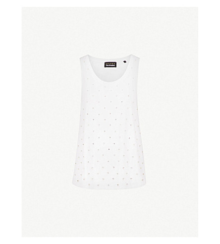 THE KOOPLES Crystal-embellished cotton-jersey tank top (Whi01