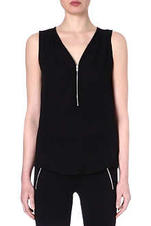 THE KOOPLES SPORT Silk and jersey tank top with zip neck